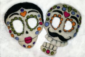 Felted Sugar Skulls in Progress